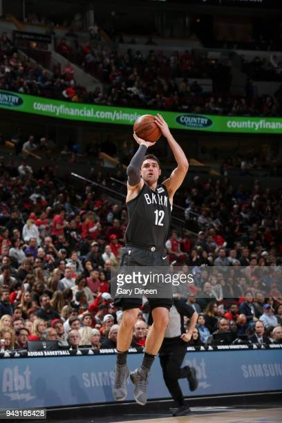 Joe Harris of the Brooklyn Nets shoots the ball against the Chicago Bulls on April 7 2018 at the United Center in Chicago Illinois NOTE TO USER User...