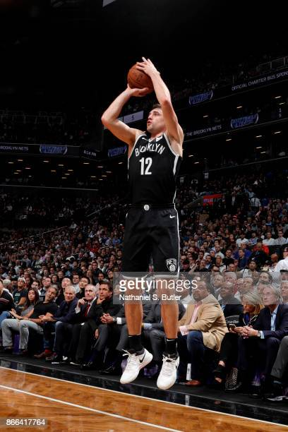 Joe Harris of the Brooklyn Nets shoots the ball against the Cleveland Cavaliers on October 25 2017 at Barclays Center in Brooklyn New York NOTE TO...
