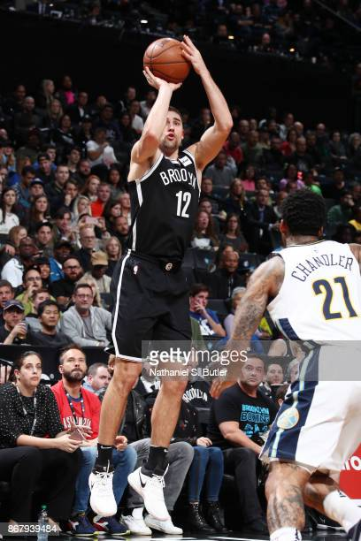 Joe Harris of the Brooklyn Nets shoots the ball against the Denver Nuggets on October 29 2017 at Barclays Center in Brooklyn New York NOTE TO USER...