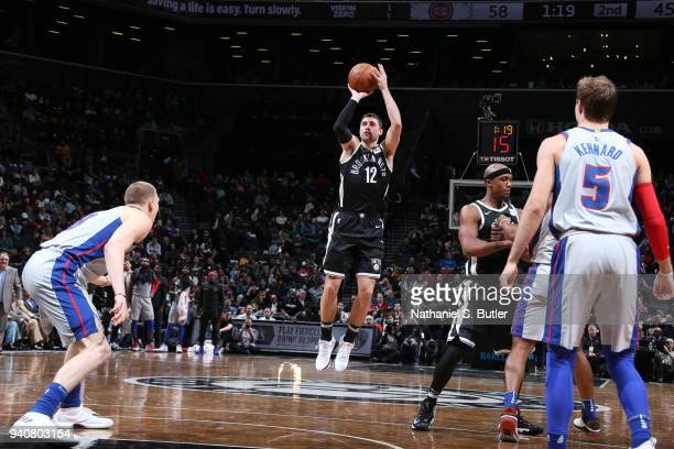 Joe Harris of the Brooklyn Nets shoots the ball against the Detroit Pistons on April 1 2018 at Barclays Center in Brooklyn New York NOTE TO USER User...