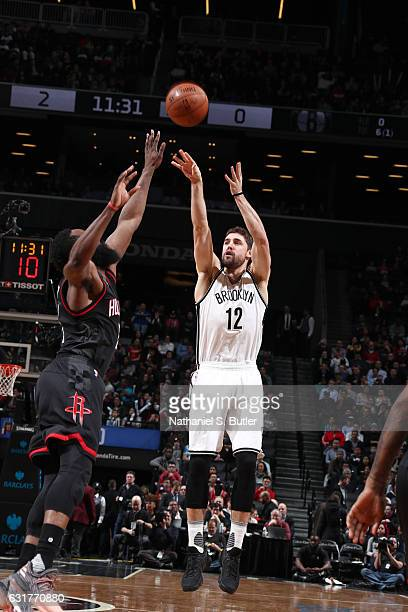 Joe Harris of the Brooklyn Nets shoots the ball against the Houston Rockets on January 15 2017 at Barclays Center in Brooklyn New York NOTE TO USER...
