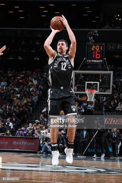 Joe Harris of the Brooklyn Nets shoots the ball against the Los Angeles Lakers on February 2 2018 at Barclays Center in Brooklyn New York NOTE TO...