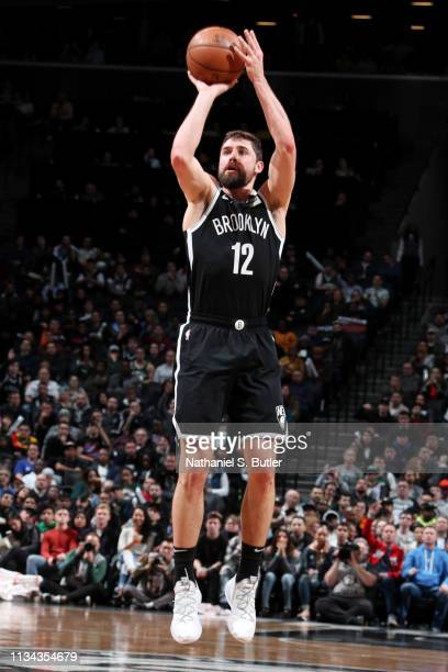 BROOKLYN NY APRIL 1 Joe Harris of the Brooklyn Nets shoots the ball against the Milwaukee Bucks on April 1 2019 at Barclays Center in Brooklyn New...