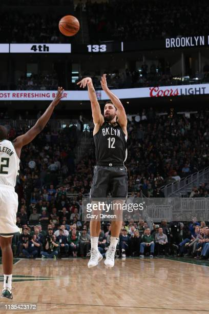 Joe Harris of the Brooklyn Nets shoots the ball against the Milwaukee Bucks on April 6 2019 at the Fiserv Forum Center in Milwaukee Wisconsin NOTE TO...