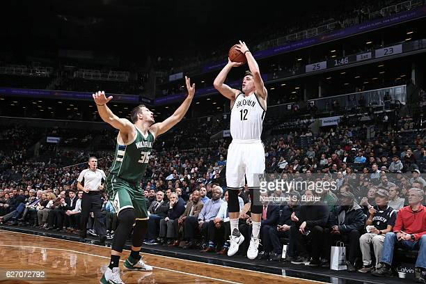 Joe Harris of the Brooklyn Nets shoots the ball against the Milwaukee Bucks on December 1 2016 at Barclays Center in Brooklyn New York NOTE TO USER...