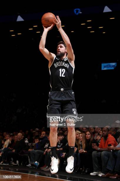 Joe Harris of the Brooklyn Nets shoots the ball against the Minnesota Timberwolves on November 23 2018 at Barclays Center in Brooklyn New York NOTE...