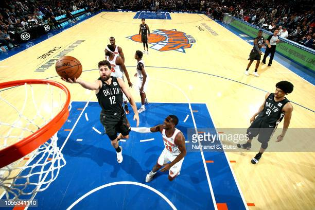 Joe Harris of the Brooklyn Nets shoots the ball against the New York Knicks on October 29 2018 at Madison Square Garden in New York City New York...