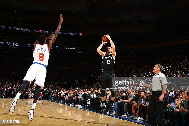 Joe Harris of the Brooklyn Nets shoots the ball against the New York Knicks at Madison Square Garden in New York City on OCTOBER 8 2016 NOTE TO USER...