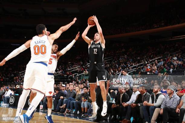 Joe Harris of the Brooklyn Nets shoots the ball against the New York Knicks during the preseason game on October 3 2017 at Madison Square Garden in...
