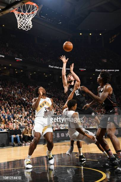 Joe Harris of the Brooklyn Nets shoots the ball against the Toronto Raptors on January 11 2019 at the Scotiabank Arena in Toronto Ontario Canada NOTE...