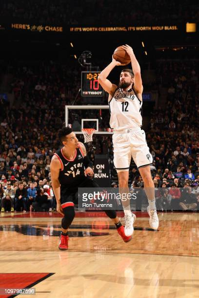 Joe Harris of the Brooklyn Nets shoots the ball against the Toronto Raptors on February 11 2019 at the Scotiabank Arena in Toronto Ontario Canada...