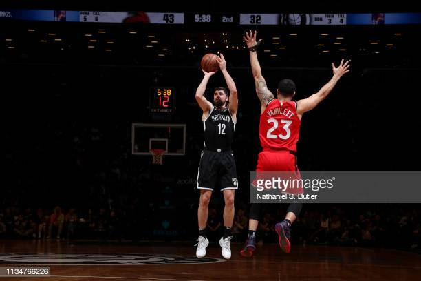 Joe Harris of the Brooklyn Nets shoots the ball against the Toronto Raptors on April 3 2019 at Barclays Center in New York City New York NOTE TO USER...