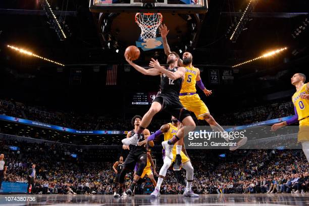 Joe Harris of the Brooklyn Nets shoots the ball during the game against the Los Angeles Lakers on December 18 2018 at Barclays Center in Brooklyn New...