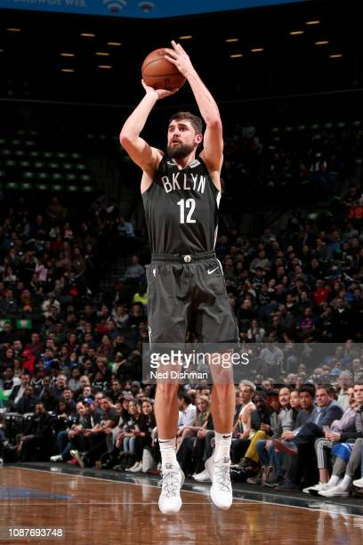 Joe Harris of the Brooklyn Nets shoots the ball during the game against the Orlando Magic on January 23 2019 at Barclays Center in Brooklyn New York...