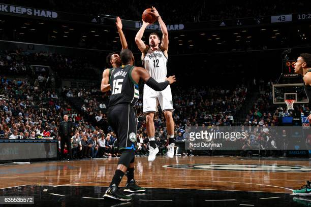Joe Harris of the Brooklyn Nets shoots the ball during the game against the Milwaukee Bucks on February 15 2017 at Barclays Center in Brooklyn New...
