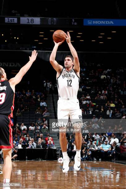 Joe Harris of the Brooklyn Nets shoots the ball during the game against the Miami Heat during a preseason game on October 5 2017 at Barclays Center...