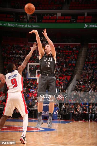 Joe Harris of the Brooklyn Nets shoots the ball during the game against the Detroit Pistons on January 21 2018 at the Little Caesars Arena in Detroit...