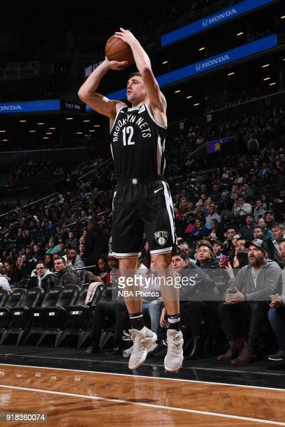 Joe Harris of the Brooklyn Nets shoots the ball during the game against the Indiana Pacers on February 14 2018 at Barclays Center in Brooklyn New...