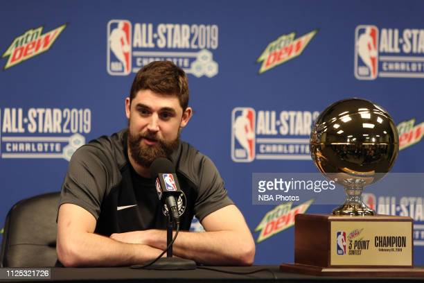 Joe Harris of the Brooklyn Nets speaks to the media at a press conference after winning the Mtn Dew 3Point Contest during NBA AllStar State Farm...