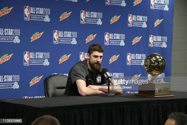 Joe Harris of the Brooklyn Nets speaks to the media following the 2019 MTN DEW 3Point Contest as part of State Farm AllStar Saturday Night on...