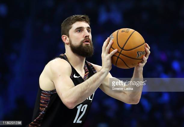 Joe Harris of the Brooklyn Nets takes a shot during the MTN DEW 3Point Contest as part of the 2019 NBA AllStar Weekend at Spectrum Center on February...