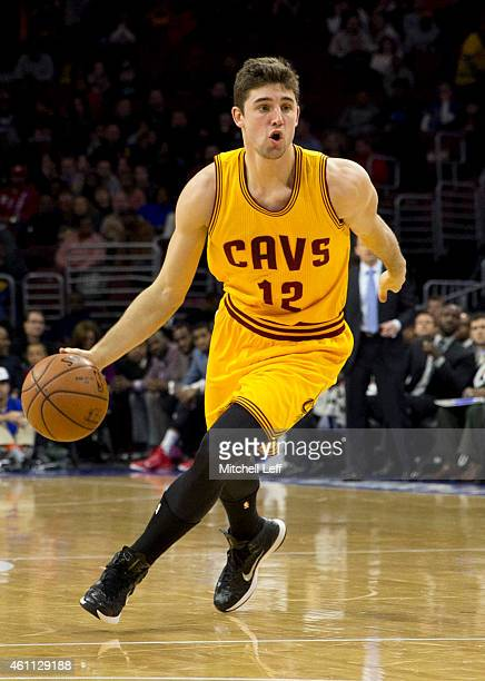 Joe Harris of the Cleveland Cavaliers dribbles the ball in the game against the Philadelphia 76ers on January 5 2015 at the Wells Fargo Center in...