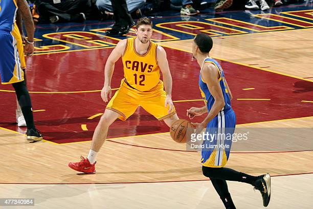 Joe Harris of the Cleveland Cavaliers guards his position against Stephen Curry of the Golden State Warriors during Game Four of the 2015 NBA Finals...