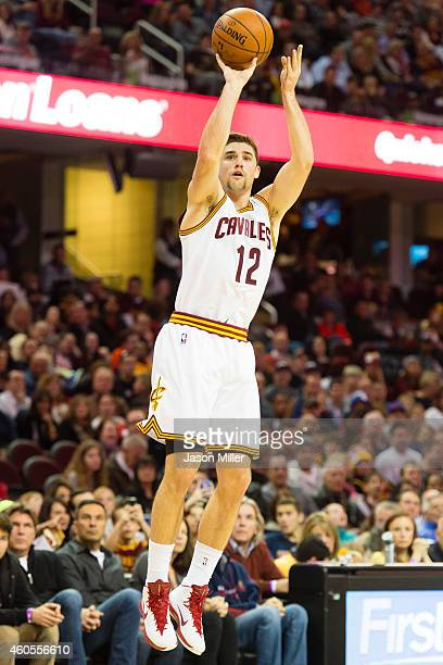 Joe Harris of the Cleveland Cavaliers shoots a jump shot during the first half against the Atlanta Hawks at Quicken Loans Arena on November 15 2014...