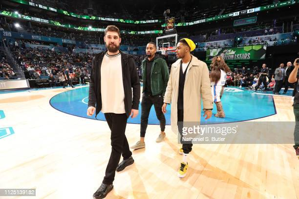 Joe Harris Spencer Dinwiddie and D'Angelo Russell of the Brooklyn Nets during the 2019 Mtn Dew ICE Rising Stars Game on February 15 2019 at the...
