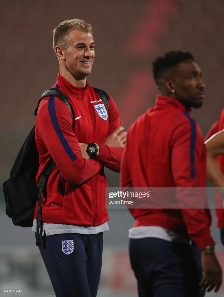Joe Hart and Jermain Defoe of England inspect the pitch on the eve of the World Cup qualifying match against Malta at Ta'Qali National Stadium on August 31, 2017 in Valletta, Malta.