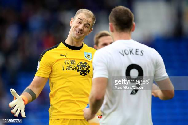 Joe Hart and Sam Vokes of Burnley celebrate during the Premier League match between Cardiff City and Burnley FC at Cardiff City Stadium on September...