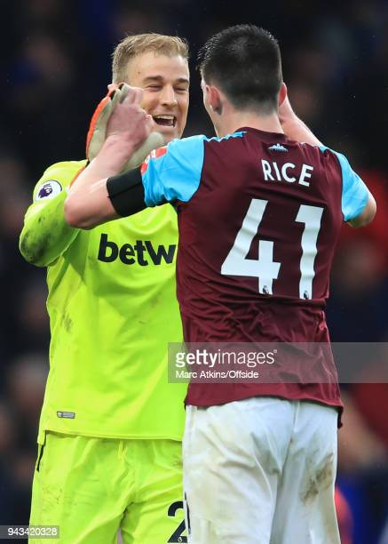 Joe Hart celebrates with Declan Rice of West Ham during the Premier League match between Chelsea and West Ham United at Stamford Bridge on April 8...