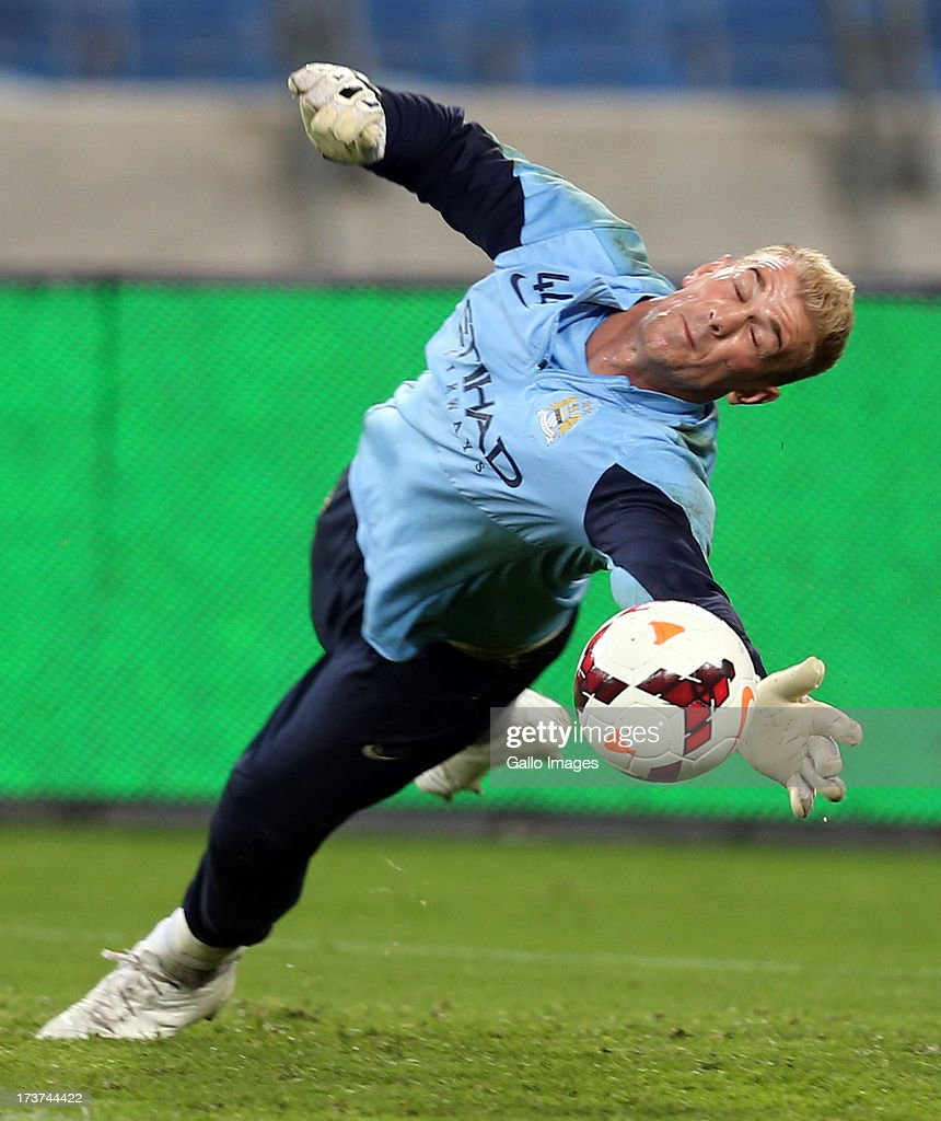 Joe Hart Goalkeeper of Manchester City during the Manchester City training session at Moses Mabhida Stadium on July 17, 2013 in Durban, South Africa.