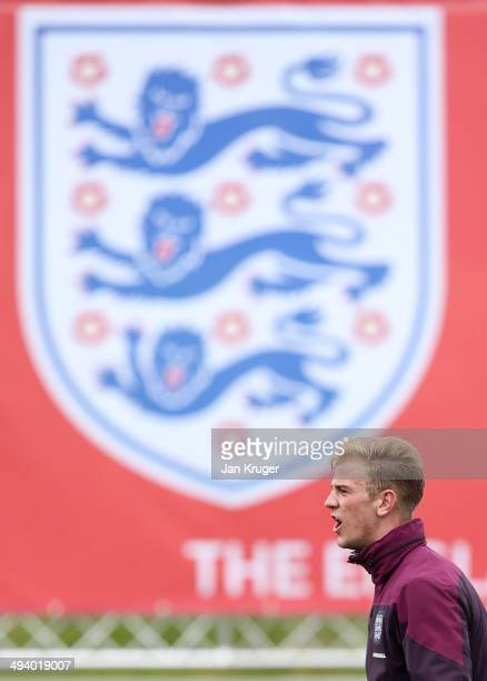 Joe Hart looks on during a training session at St Georges Park on May 27 2014 in BurtonuponTrent England