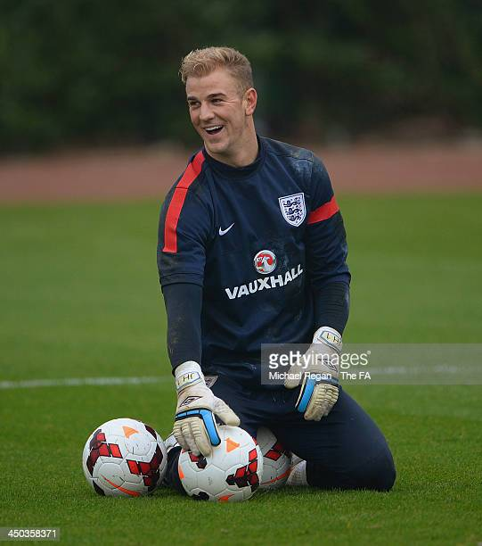 Joe Hart looks on during the England training session at London Colney on November 18, 2013 in St Albans, England.
