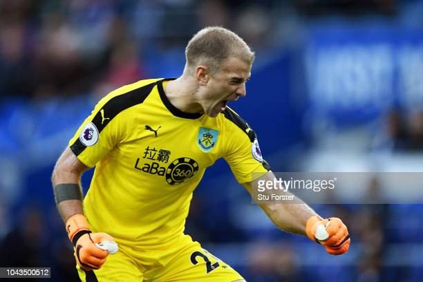 Joe Hart of Burnley celebrates after his team mate Sam Vokes scored their second goal during the Premier League match between Cardiff City and...
