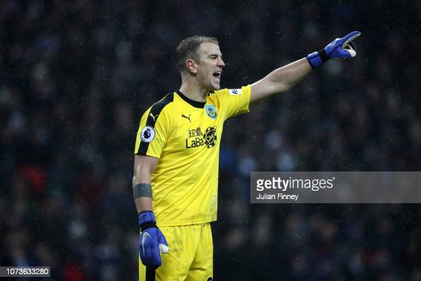 Joe Hart of Burnley gives his team instructins during the Premier League match between Tottenham Hotspur and Burnley FC at Wembley Stadium on...
