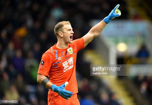 Joe Hart of Burnley gives his teammates instructions during the FA Cup Third Round match between Burnley FC and Peterborough United at Turf Moor on...