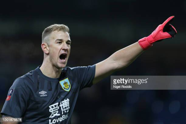 Joe Hart of Burnley gives his teammates instructions during the FA Cup Fourth Round match between Burnley FC and Norwich City at Turf Moor on January...