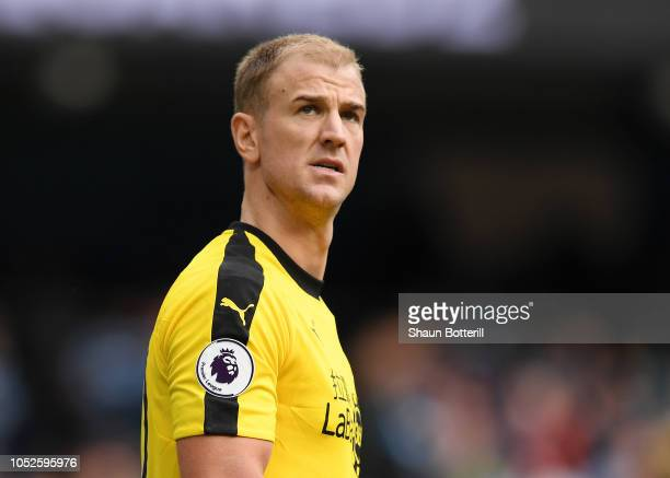 Joe Hart of Burnley looks on during the Premier League match between Manchester City and Burnley FC at Etihad Stadium on October 20 2018 in...