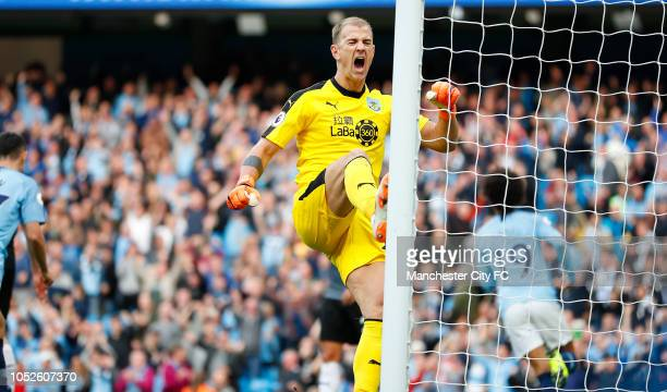 Joe Hart of Burnley reacts after Leroy Sane of Manchester City scores during the Premier League match between Manchester City and Burnley FC at...