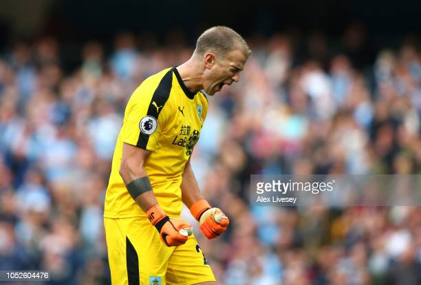 Joe Hart of Burnley reacts during the Premier League match between Manchester City and Burnley FC at Etihad Stadium on October 20 2018 in Manchester...