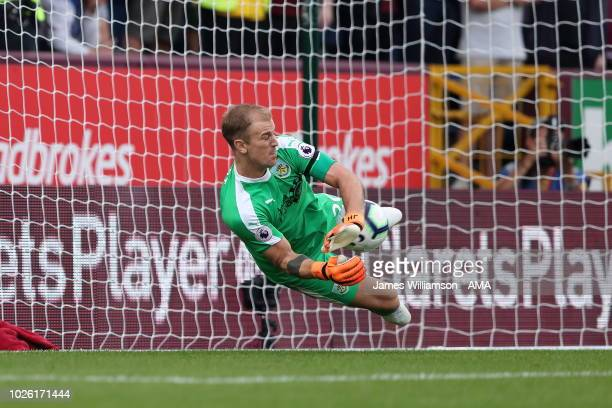 Joe Hart of Burnley saves the penalty of Paul Pogba of Manchester United during the Premier League match between Burnley FC and Manchester United at...