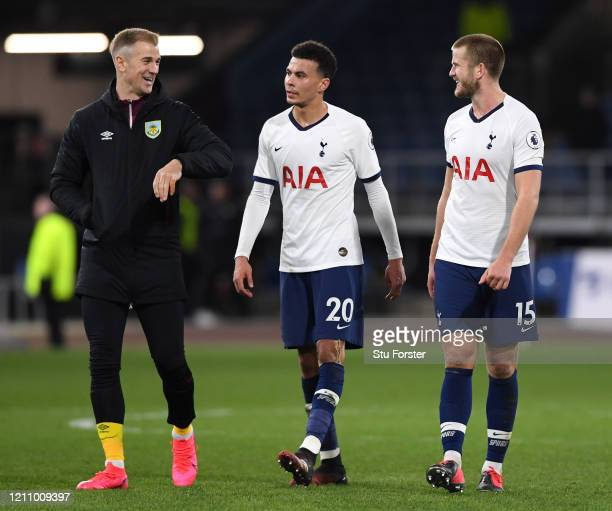 Joe Hart of Burnley talks with Dele Alli and Eric Dier of Tottenham Hotspur after the Premier League match between Burnley FC and Tottenham Hotspur...