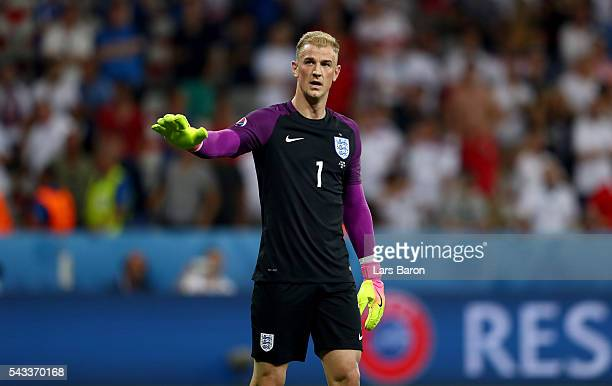 Joe Hart of England applauds the supporters after the UEFA EURO 2016 round of 16 match between England and Iceland at Allianz Riviera Stadium on June...