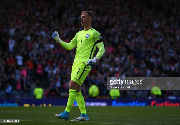 Joe Hart of England celebrates during the FIFA 2018 World Cup Qualifier between Scotland and England at Hampden Park National Stadium on June 10 2017...