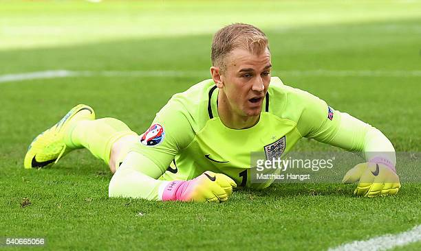 Joe Hart of England dejected on the floor after conceding Wales first goal during the UEFA EURO 2016 Group B match between England and Wales at Stade...