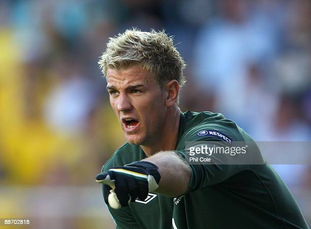 Joe Hart of England during the UEFA U21 European Championships Semi-Final match between England and Sweden at the Gamia Ullevi on June 26, 2009 in...