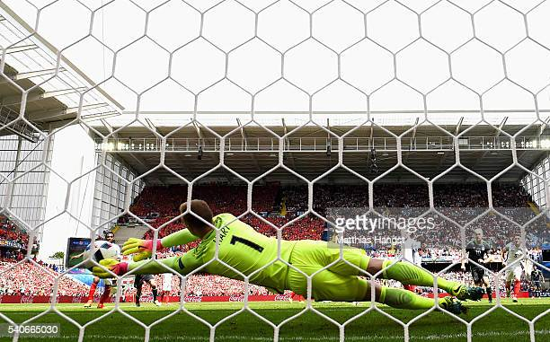Joe Hart of England fails to stop the shot as Gareth Bale of Wales scores his team's first goal during the UEFA EURO 2016 Group B match between...