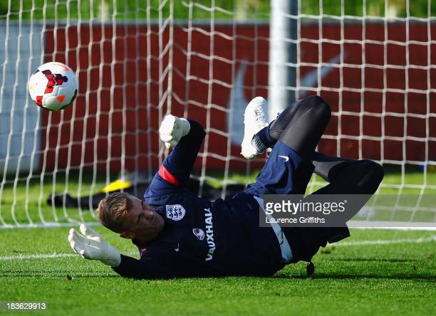 Joe Hart of England in action during a training session at St Georges Park on October 8, 2013 in Burton-upon-Trent, England.